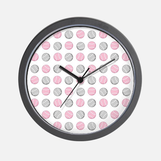 Cute Tennis Ball Pattern Grey and Pink. Wall Clock