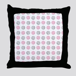 Cute Tennis Ball Pattern Grey and Pin Throw Pillow