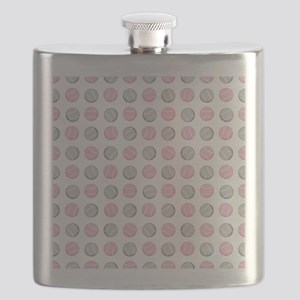 Cute Tennis Ball Pattern Grey and Pink. Flask