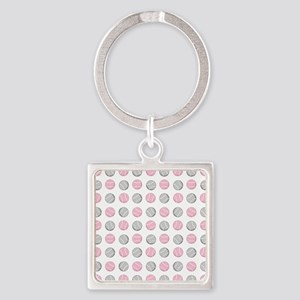 Cute Tennis Ball Pattern Grey and Square Keychain