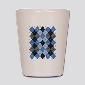 Blue Argyle Shot Glass