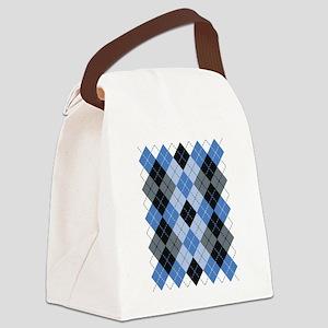 Blue Argyle Canvas Lunch Bag
