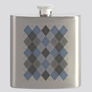Blue Argyle Flask