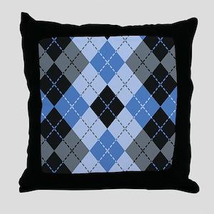 Blue Argyle Throw Pillow