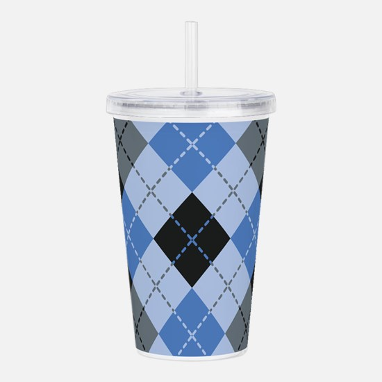 Blue Argyle Acrylic Double-wall Tumbler