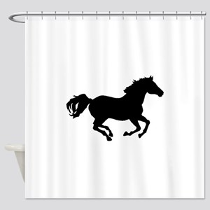 Horse Running Silhouette Shower Curtain