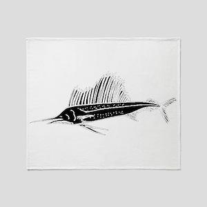 Sail Fish Silhouette Throw Blanket