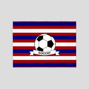 Soccer Ball RWB 5'x7'Area Rug