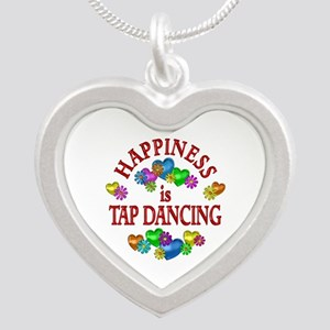Happiness is Tap Dancing Silver Heart Necklace