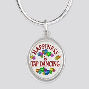 Happiness is Tap Dancing Silver Oval Necklace