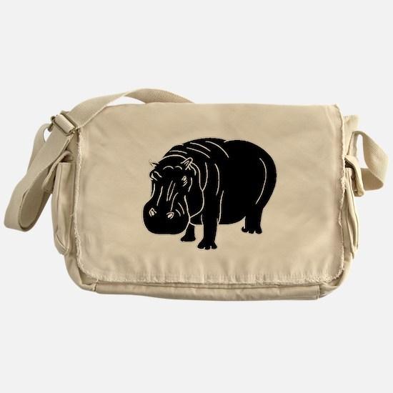Hippopotamus Silhouette Messenger Bag