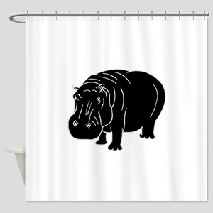 Hippopotamus Silhouette Shower Curtain