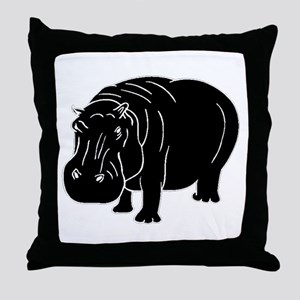 Hippopotamus Silhouette Throw Pillow