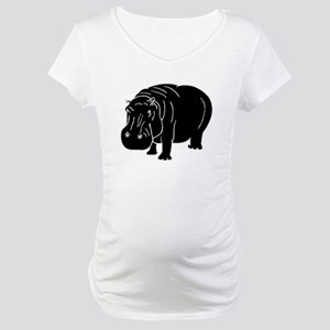 Hippopotamus Silhouette Maternity T-Shirt
