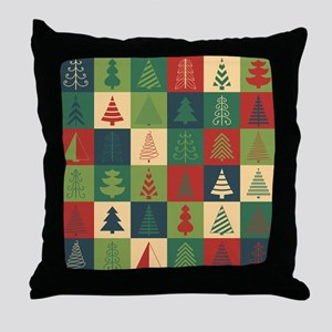 Christmas Tree Patches Throw Pillow