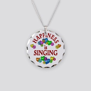 Happiness is Singing Necklace Circle Charm