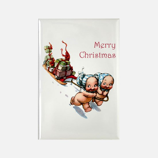 Cupies Christmas Sleigh Rectangle Magnet