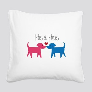 His & Hers Square Canvas Pillow