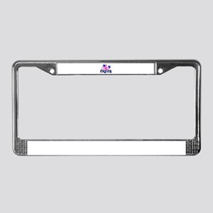 Pink and Blue Cheerleader License Plate Frame