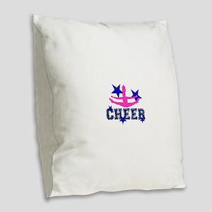 Pink and Blue Cheerleader Burlap Throw Pillow