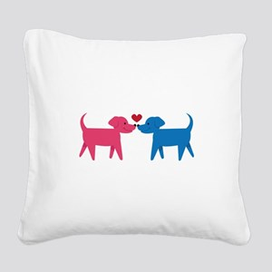 Puppy Love Square Canvas Pillow