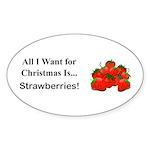 Christmas Strawberries Sticker (Oval 50 pk)