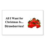 Christmas Strawberries Sticker (Rectangle 10 pk)
