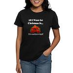 Christmas Strawberries Women's Dark T-Shirt
