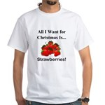 Christmas Strawberries White T-Shirt