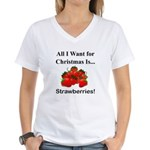 Christmas Strawberries Women's V-Neck T-Shirt