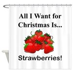 Christmas Strawberries Shower Curtain
