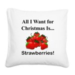 Christmas Strawberries Square Canvas Pillow