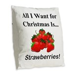 Christmas Strawberries Burlap Throw Pillow