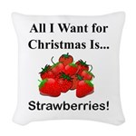 Christmas Strawberries Woven Throw Pillow