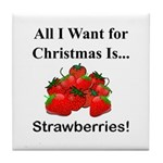 Christmas Strawberries Tile Coaster