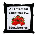 Christmas Strawberries Throw Pillow