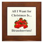 Christmas Strawberries Framed Tile