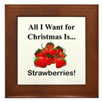 Christmas Strawberries Framed Tile