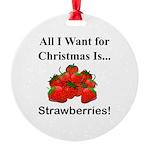 Christmas Strawberries Round Ornament