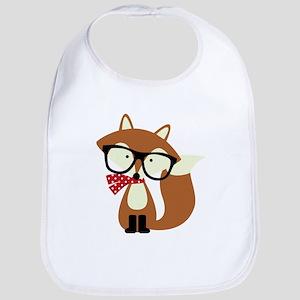 Holiday Hipster Brown Fox Bib