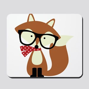 Holiday Hipster Brown Fox Mousepad