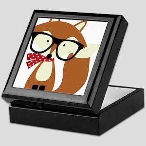 Holiday Hipster Brown Fox Keepsake Box