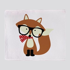 Holiday Hipster Brown Fox Throw Blanket