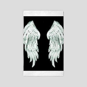 Angel wings back blue 3'x5' Area Rug