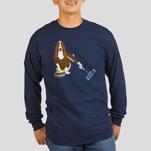Basset Hound Curling Long Sleeve Dark T-Shirt