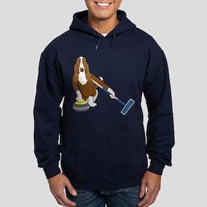 Basset Hound Curling Hoodie (dark)