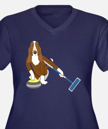 Basset Hound Curling Women's Plus Size T-Shirt