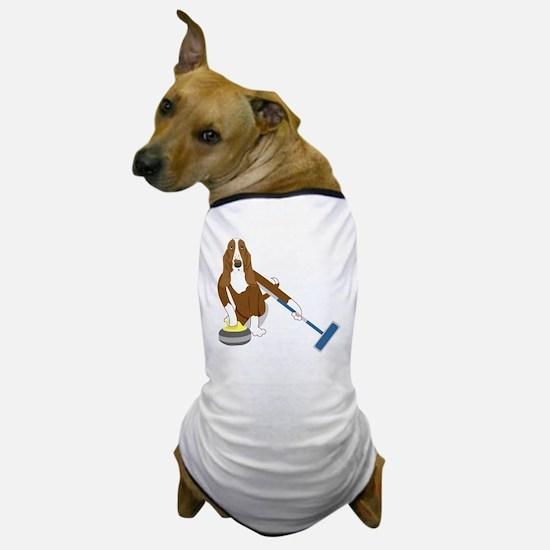 Basset Hound Curling Dog T-Shirt