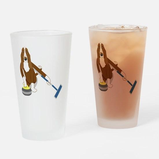 Basset Hound Curling Drinking Glass