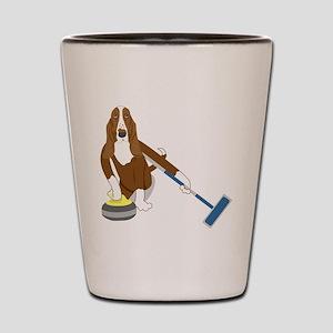 Basset Hound Curling Shot Glass
